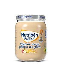 Nutribén potitos, manzana, naranja y plátano con galleta, 190 g