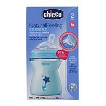 Chicco biberÓn natural feeling azul, 250 ml, 2m+