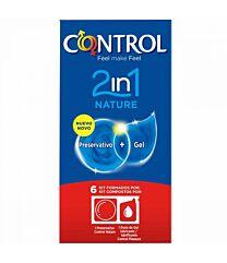 Control nature 2 en 1, 6 preservativos + 1 dosis de gel lubricante