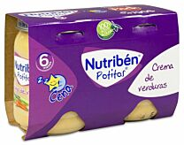 Nutribén Pack cena, 2 x 190 g,  crema de verduras