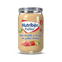 Nutribén potitos, guiso de pollo y ternera con judías verdes, 235 g