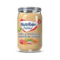 Nutriben potitos, jamón y ternera con menestra de verduras, 235 g