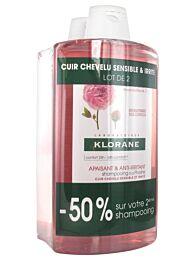Klorane champÚ calmante y anti-irritante al extracto de peonÍa, duplo (2 x 400 ml)