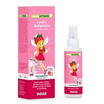 Nosaattack lociÓn antipiojos, 5 % dimeticona, aroma fresa, 100 ml