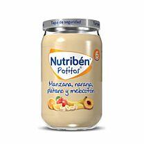 Nutribén potitos, manzana, naranja, plátano y melocotón, 235 g
