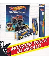 Pack monster truck kin (cepillo dental infantil, pasta dentÍfrica y coche monster truck hotwheels)