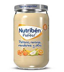 Nutribén potitos plátano, naranja, mandarina y pera, 235 g