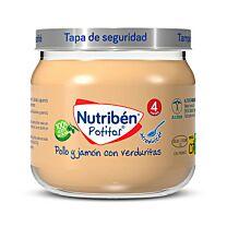 Nutribén potitos, pollo y jamón con verduritas, 120 gr