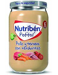 Nutribén potitos, pollo y ternera con  verduritas, 235 g