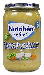 Nutribén potitos suprema de merluza con guisantes y zanahorias, 235 g