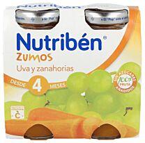 Nutribén zumos de uva y zanahoria, 2 x 130 ml